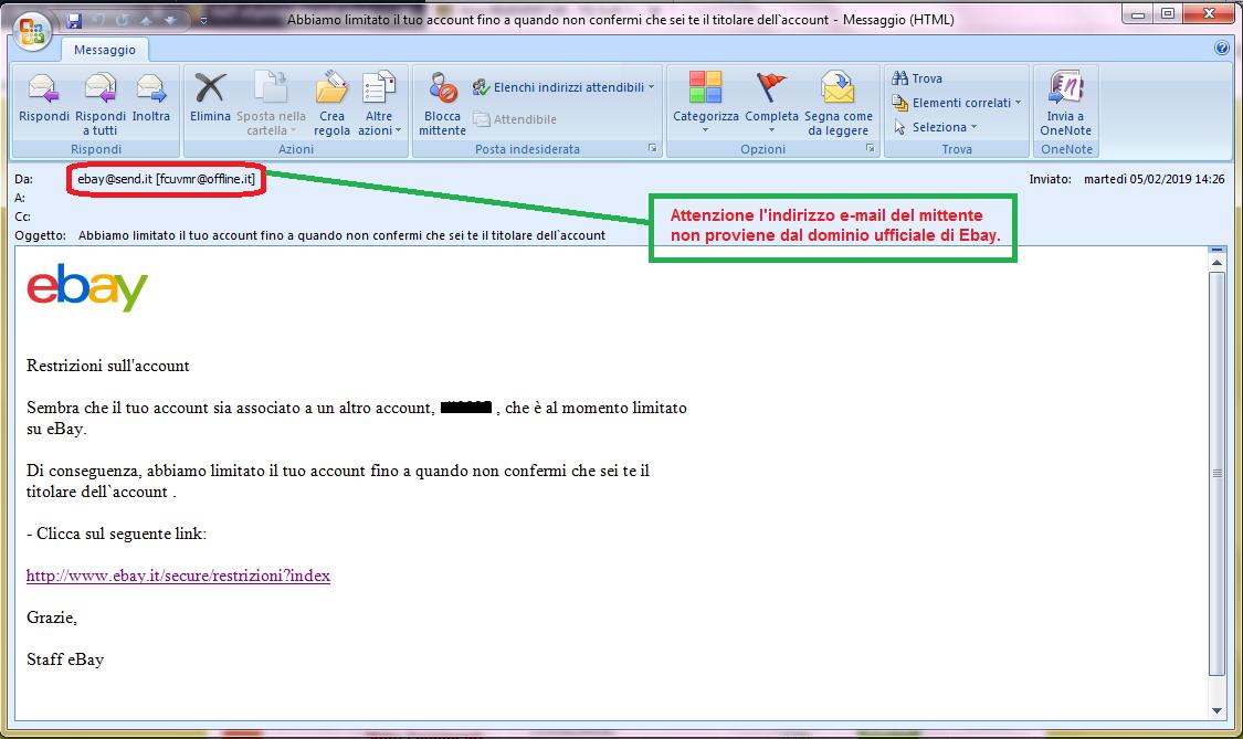 Clicca per ingrandire l'immagine della falsa e-mail di eBay che cerca di rubare le credenziali di accesso all'account dell'ignaro ricevente.