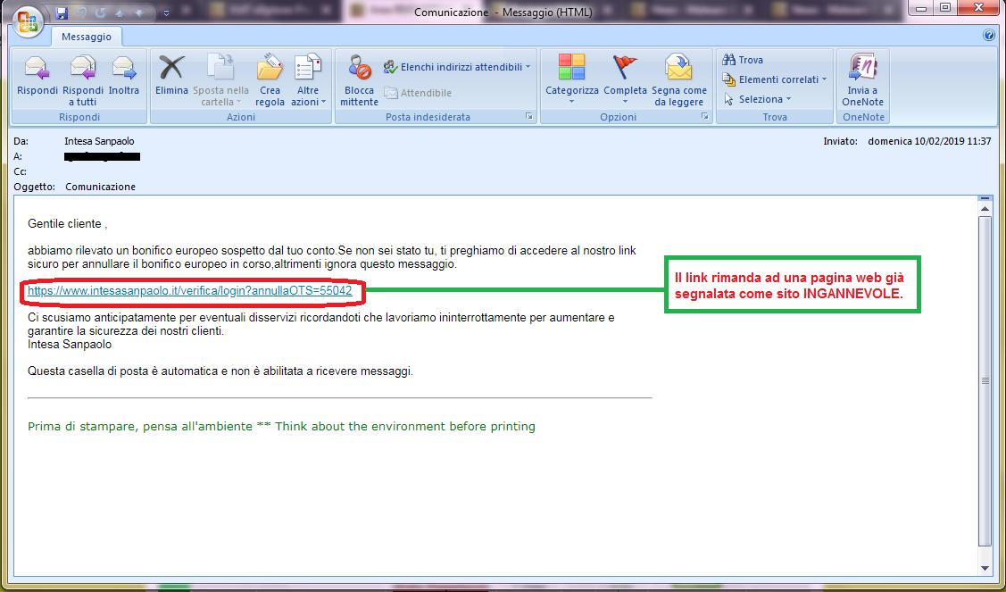 Clicca per ingrandire l'immagine della falsa e-mail di INTESA SANPAOLO, che cerca di indurre il ricevente a cliccare sui link per rubare le credenziali di accesso al conto corrente.