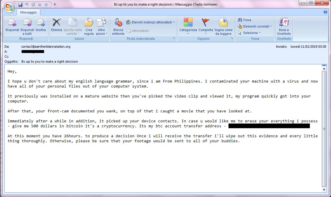 Clicca per ingrandire l'immagine del tentativo di RICATTO VIA E-MAIL, che minaccia di inviare un video di te mentre guardi SITI x Adulti