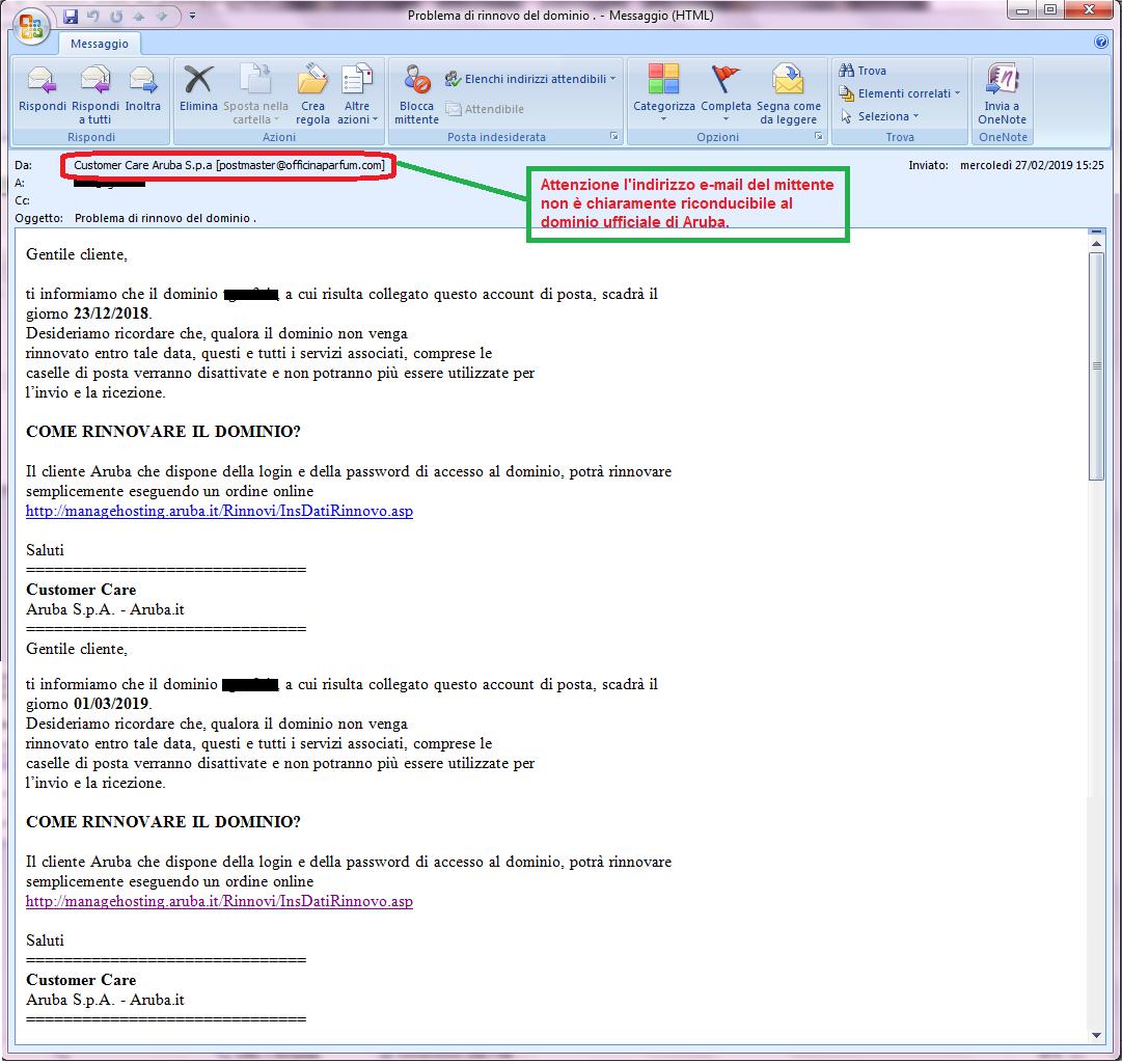 Clicca per ingrandire l'immagine della falsa e-mail di Aruba che ricorda di rinnovare il dominio in scadenza ma in realtà è una TRUFFA!
