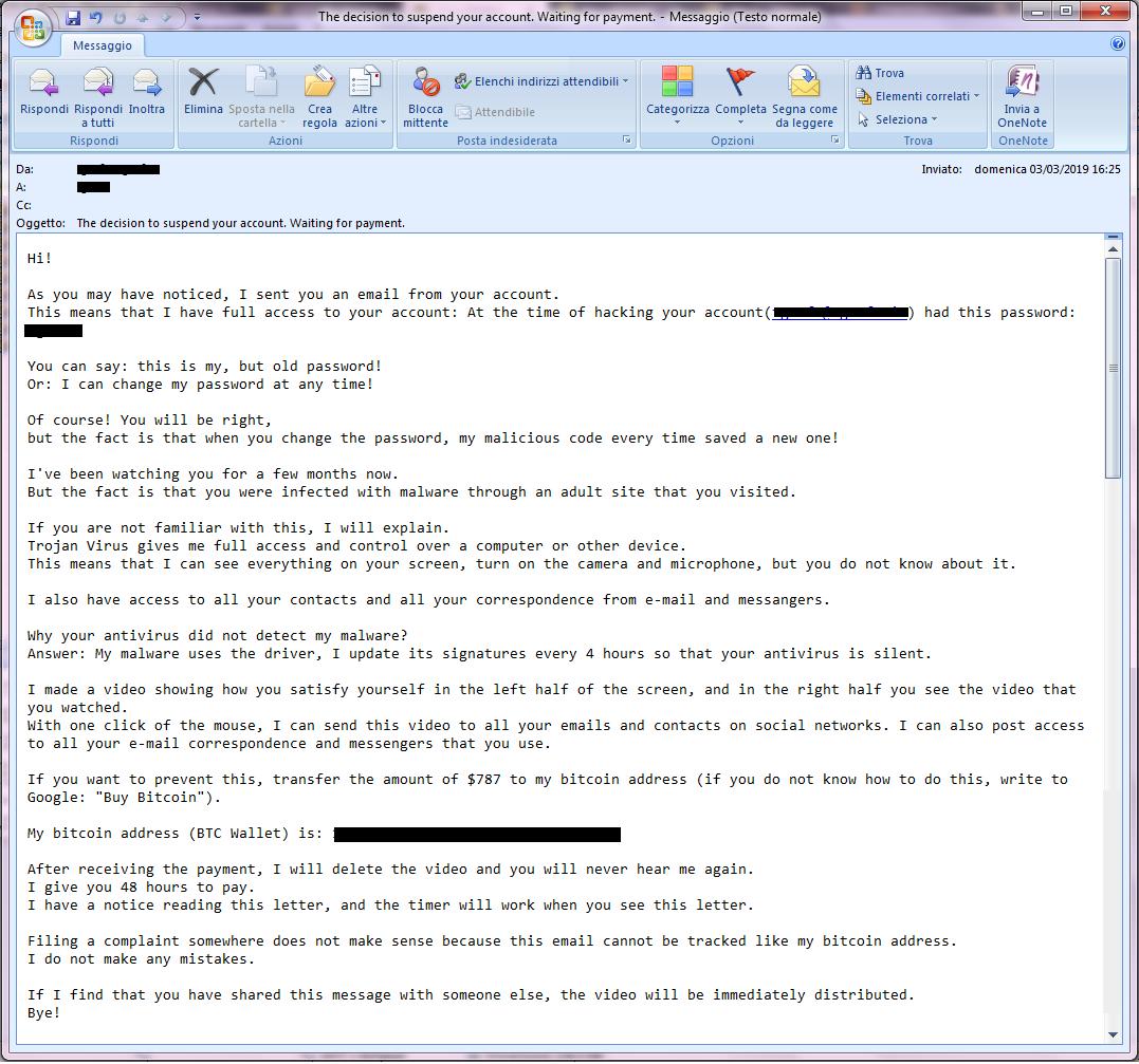 Clicca per ingrandire l'immagine del tentativo di RICATTO VIA E-MAIL, che minaccia di inviare un video privato mentre guardi SITI x Adulti