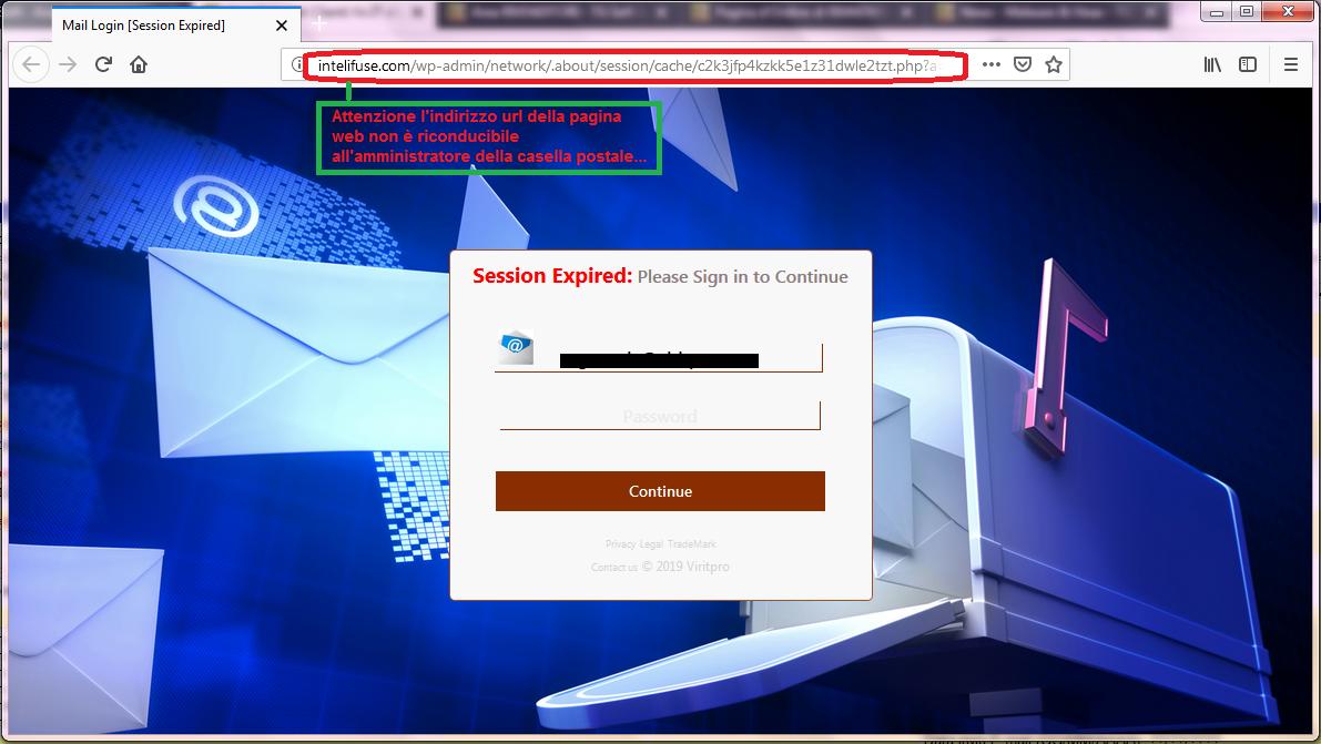 Clicca per ingrandire l'immagine del FALSO sito internet, che cerca di indurre il ricevente a inserire le credenziali di accesso alla sua casella di posta elettronica