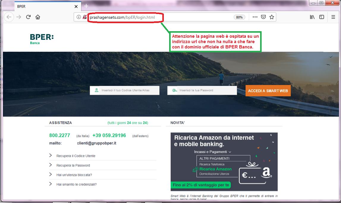 Clicca per ingrandire l'immagine del FALSO sito internet di BPER Banca, che cerca di indurre il ricevente a inserire le credenziali di accesso al suo conto corrente online