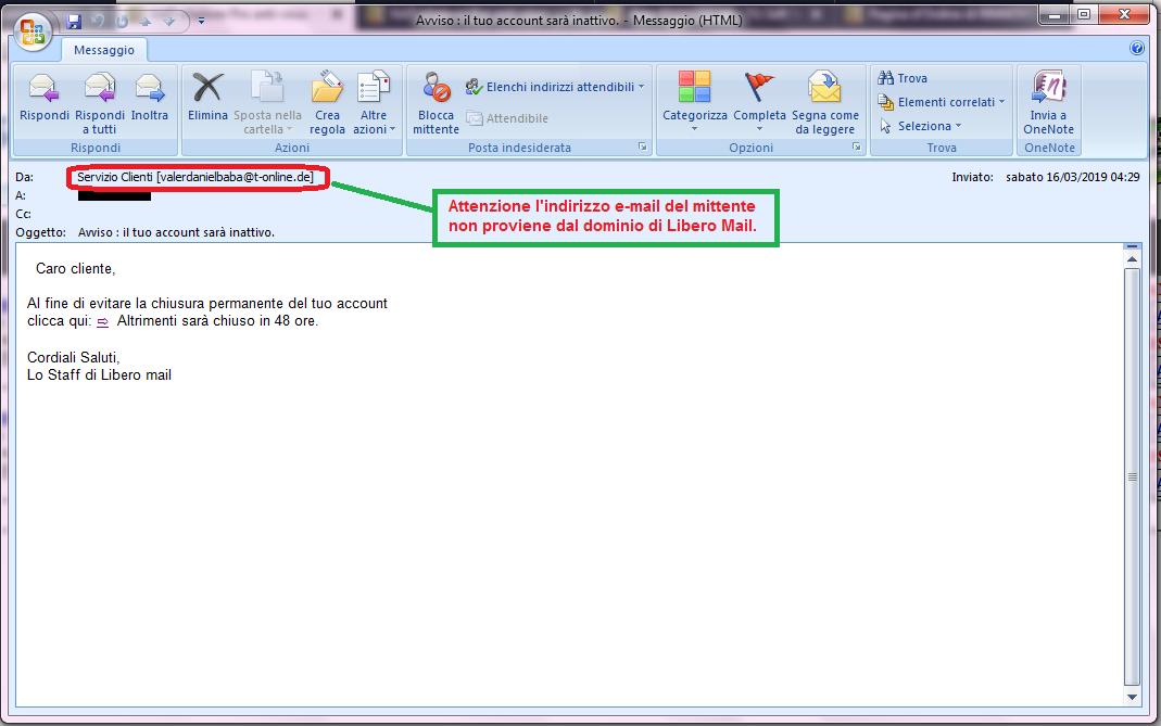 Clicca per ingrandire l'immagine della falsa e-mail di LIBERO Mail, che cerca di indurre il ricevente a cliccare sui link per rubare le credenziali di accesso alla casella di posta elettronica.