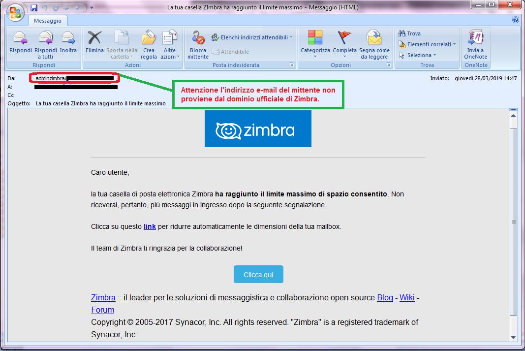 Clicca per ingrandire l'immagine della falsa e-mail di ZIMBRA della casella di posta elettronica, che cerca di indurre il ricevente a cliccare sui link per rubare le credenziali di accesso alla casella di posta elettronica.