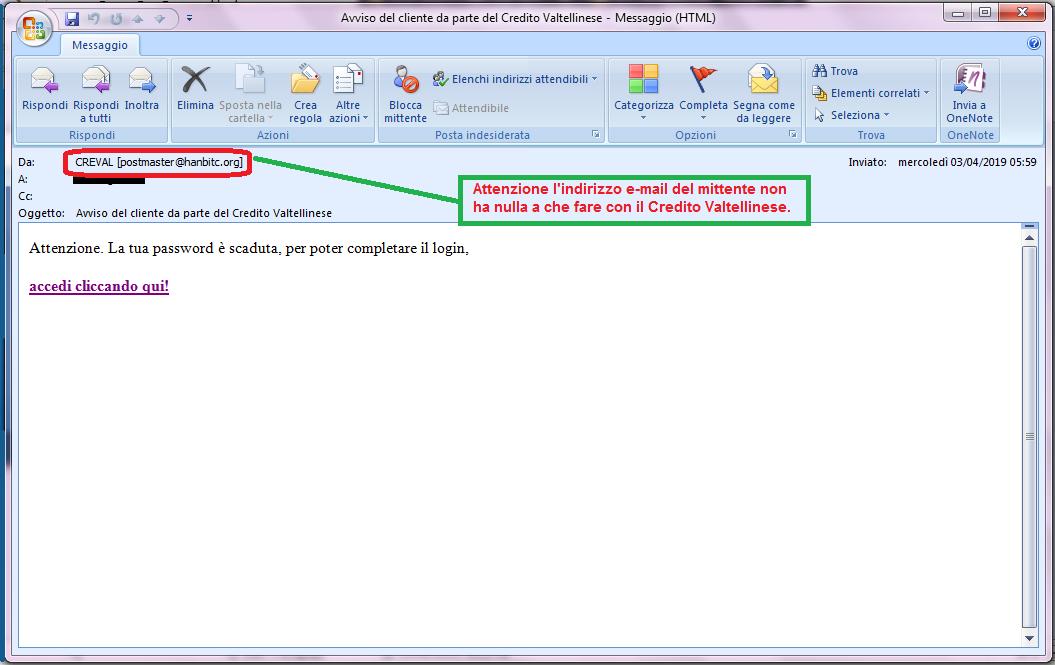 Clicca per ingrandire l'immagine della falsa e-mail di CREVAL BANCA, che cerca di indurre il ricevente a cliccare sui link per rubare le credenziali di accesso al suo account.