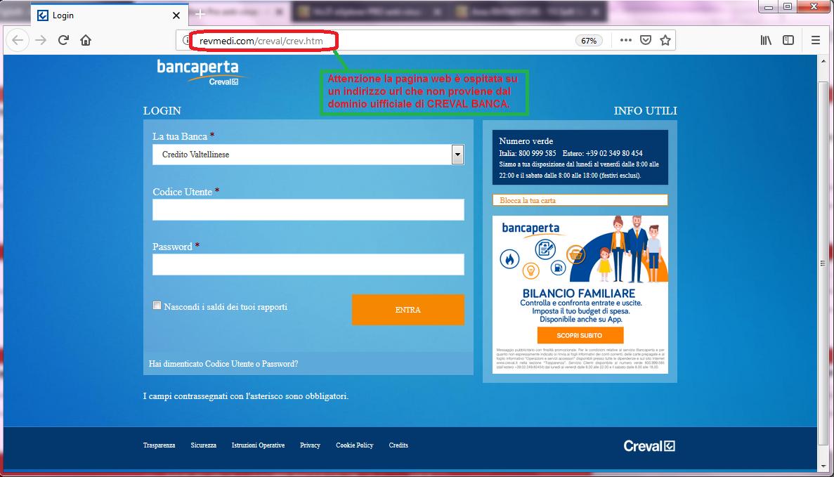 Clicca per ingrandire l'immagine del FALSO sito internet di CREVAL Banca, che cerca di indurre il ricevente a inserire le credenziali di accesso al suo conto corrente online