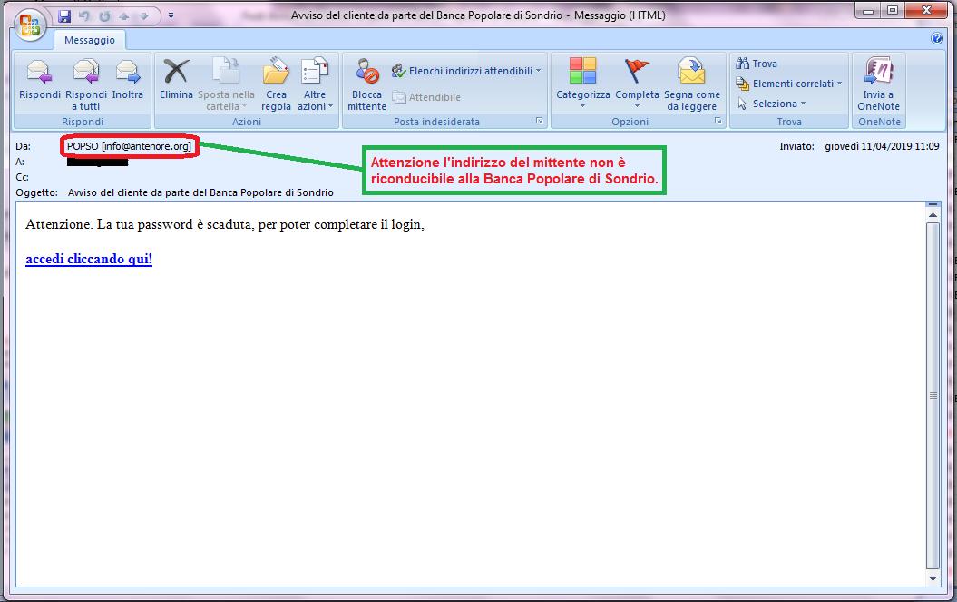 Clicca per ingrandire l'immagine della falsa e-mail di BANCA POPOLARE DI SONDRIO che cerca di rubare le credenziali di accesso alla Home Banking, ma in realtà è una TRUFFA!