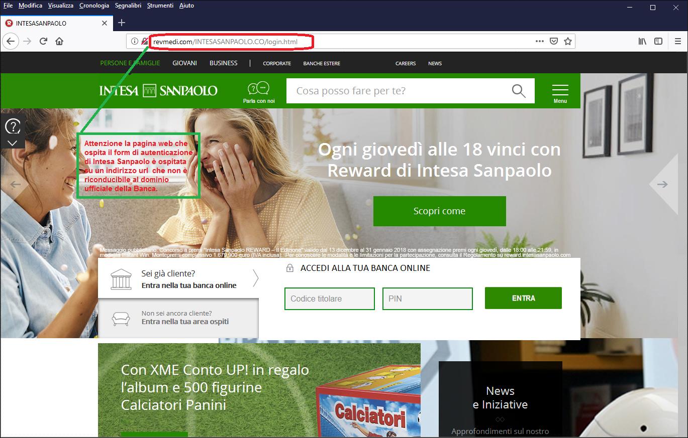 Clicca per ingrandire l'immagine del FALSO sito internet di INTESA SANPAOLO, che cerca di indurre il ricevente a inserire le credenziali di accesso al suo conto corrente online