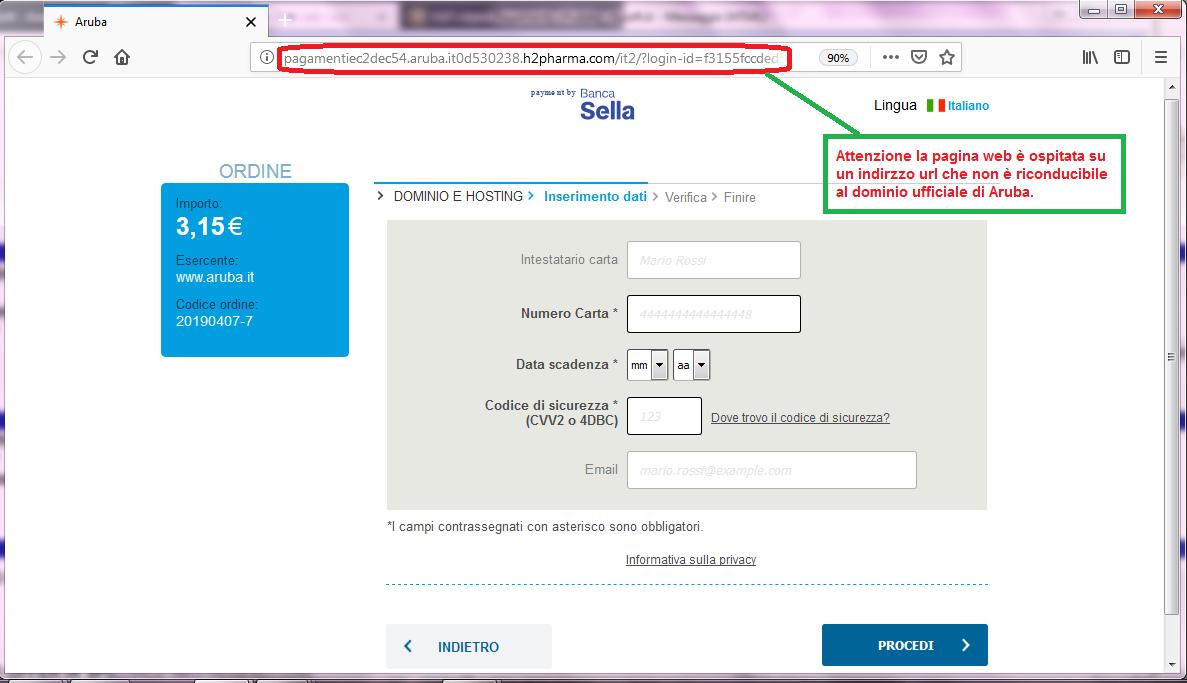 Clicca per ingrandire l'immagine del FALSO sito internet di ARUBA, che cerca di rubare le credenziali di accesso all'account...