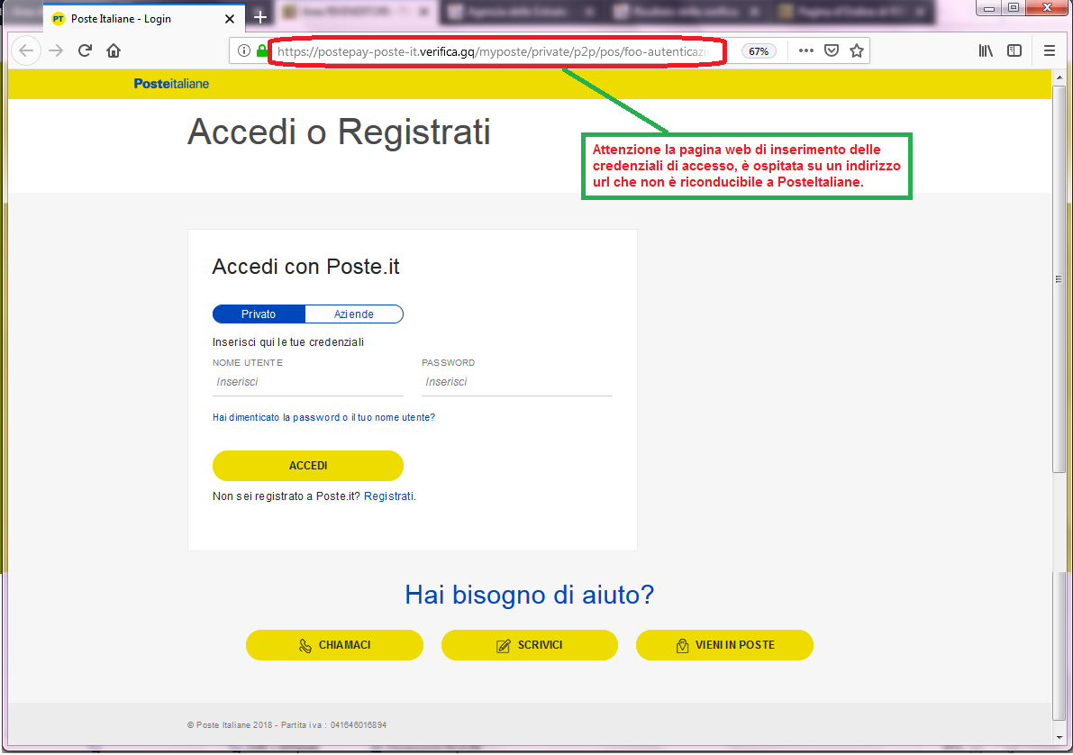 Clicca per ingrandire l'immagine della falsa pagina web di POSTE ITALIANE che cerca di rubare le credenziali di accesso all'account...
