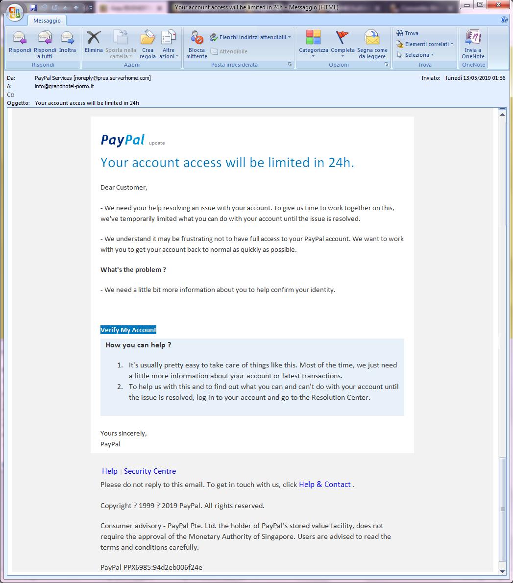 Clicca per ingrandire l'immagine della falsa e-mail di PayPal, che cerca di rubare le credenziali di accesso all'account.