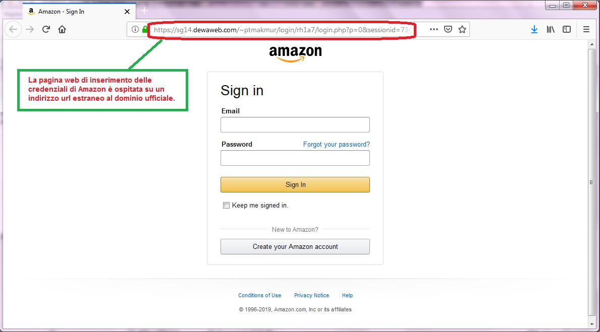 Clicca per ingrandire l'immagine del FALSO sito internet di AMAZON, che cerca di rubare le credenziali di accesso all'account...
