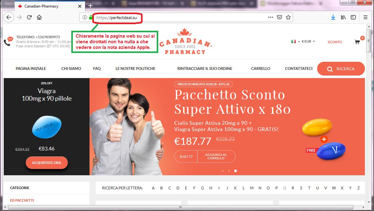 Clicca per ingrandire l'immagine del FALSO sito internet dove si viene dirottati cliccando sul link dell'e-mail dell'Apple.