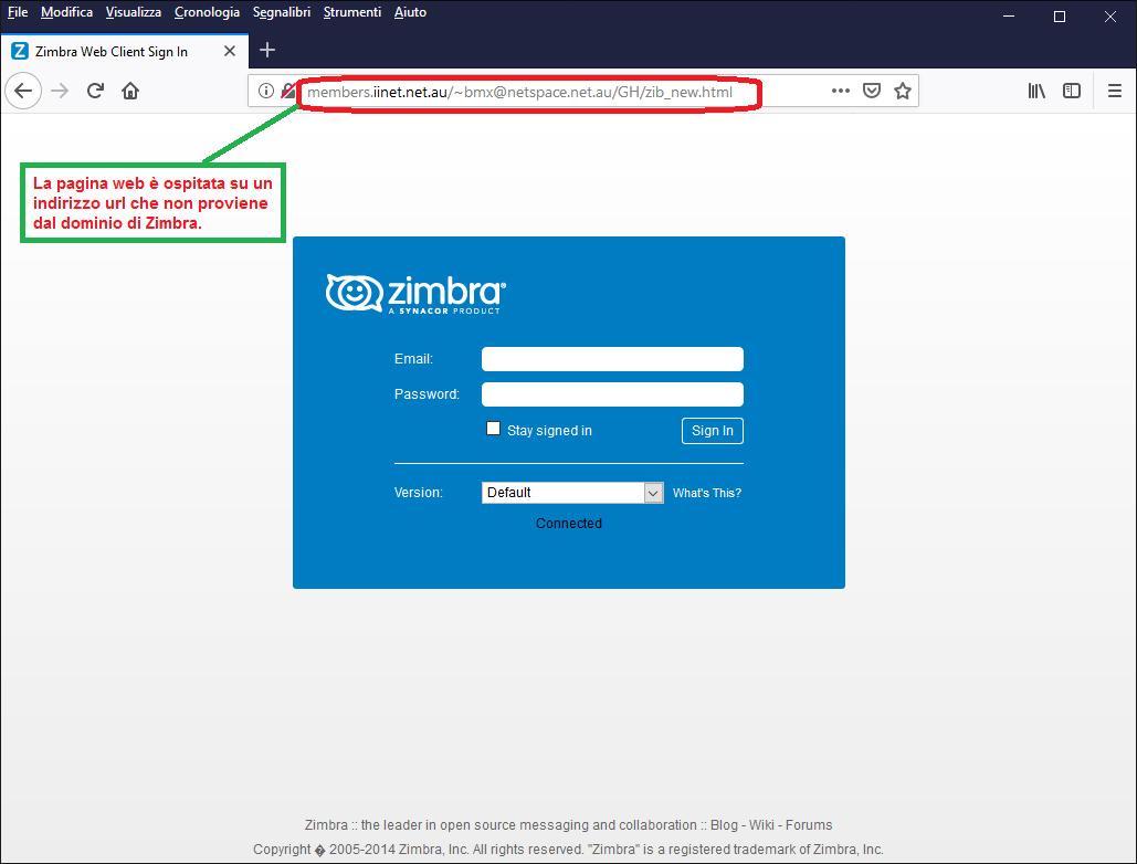Clicca per ingrandire l'immagine del FALSO sito internet di ZIMBRA, che cerca di indurre il ricevente a inserire le credenziali di accesso alla sua casella di posta elettronica.