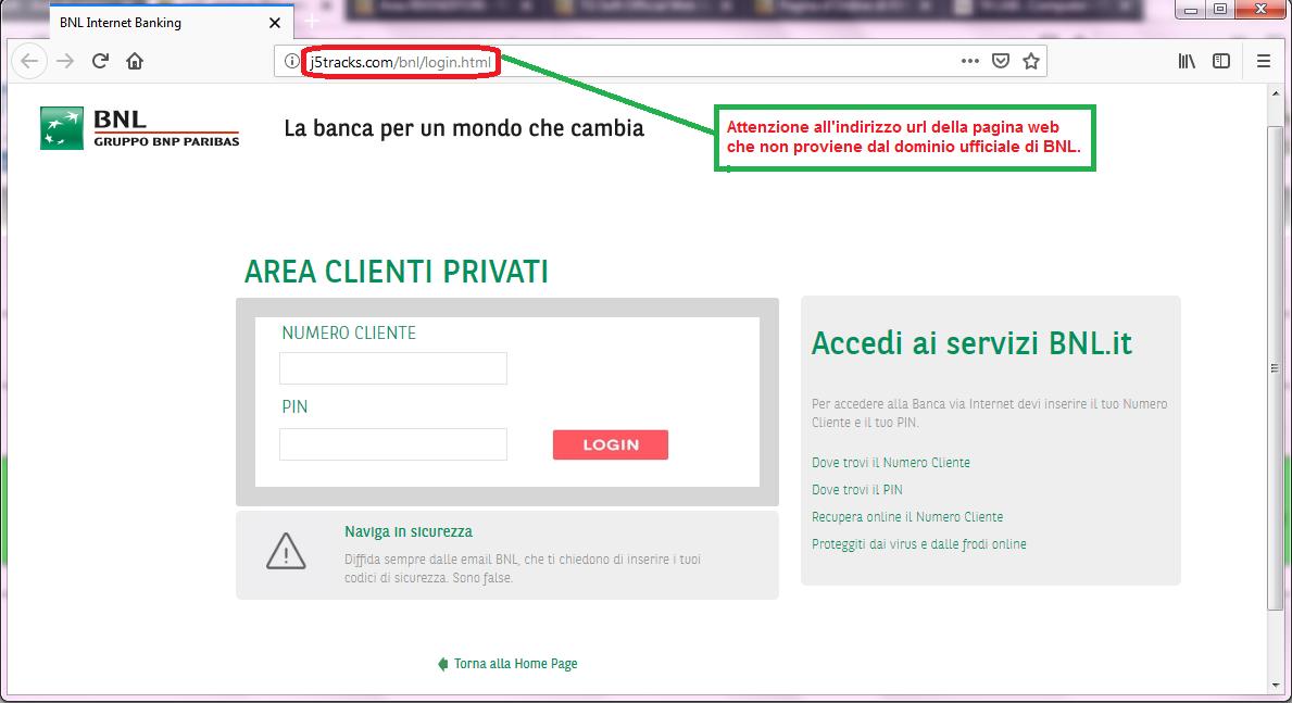 Clicca per ingrandire l'immagine del FALSO sito internet di BNL, che cerca di rubare le credenziali di accesso all'account...