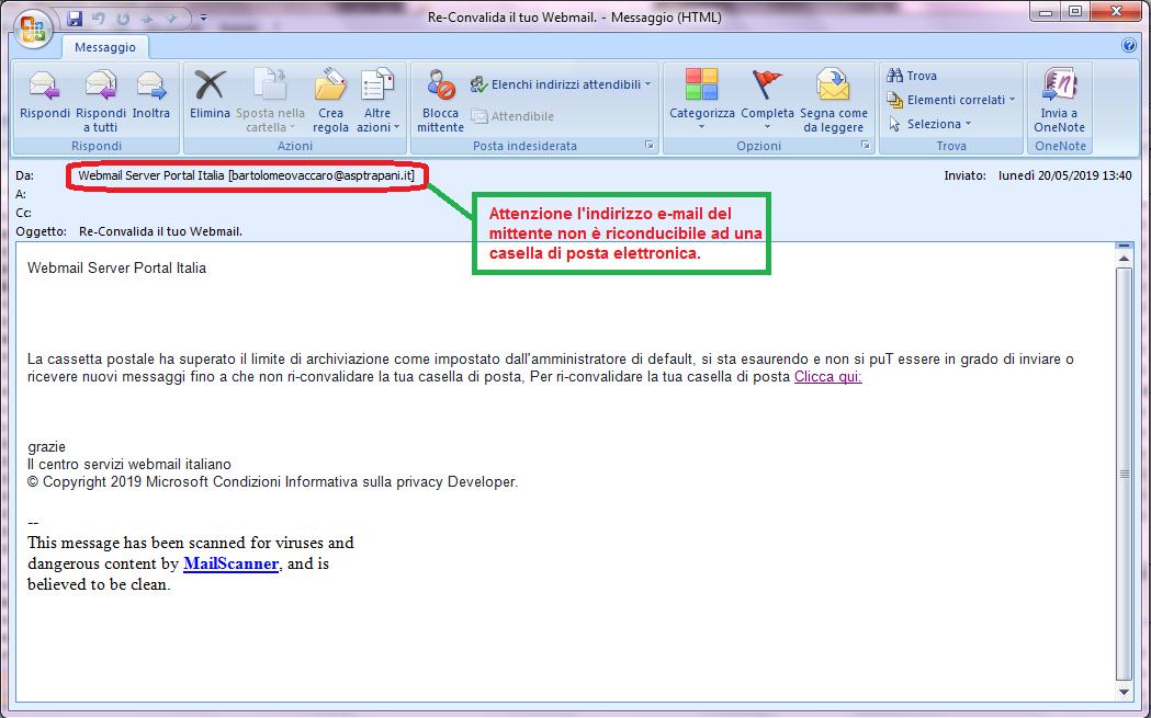Clicca per ingrandire l'immagine della falsa e-mail della casella di posta elettronica, che cerca di indurre il ricevente a cliccare sui link per rubare le credenziali di accesso alla casella di posta elettronica.
