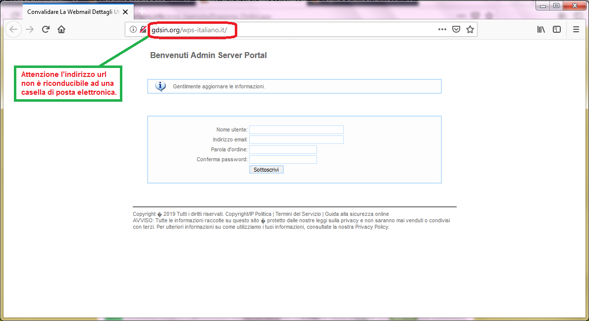 Clicca per ingrandire l'immagine del FALSO sito internet della casella postael, che cerca di rubare le credenziali di accesso all'account di posta elettronica
