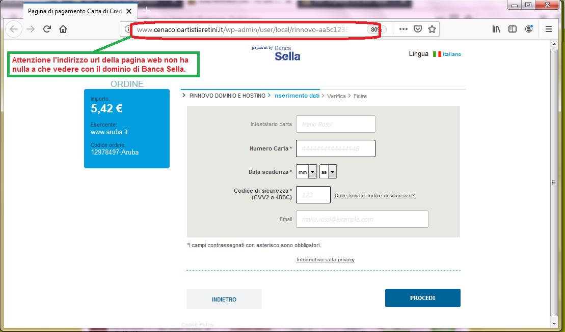 Clicca per ingrandire l'immagine del FALSO sito internet di Banca Sella, che cerca di rubare i dati della carta di credito......