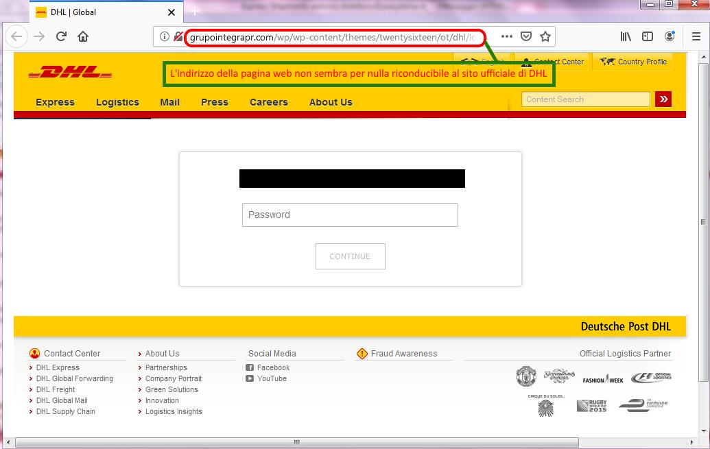 Clicca per ingrandire l'immagine del FALSO sito internet di DHL, che cerca di indurre il ricevente ad inserire la password della sua casella elettronica.