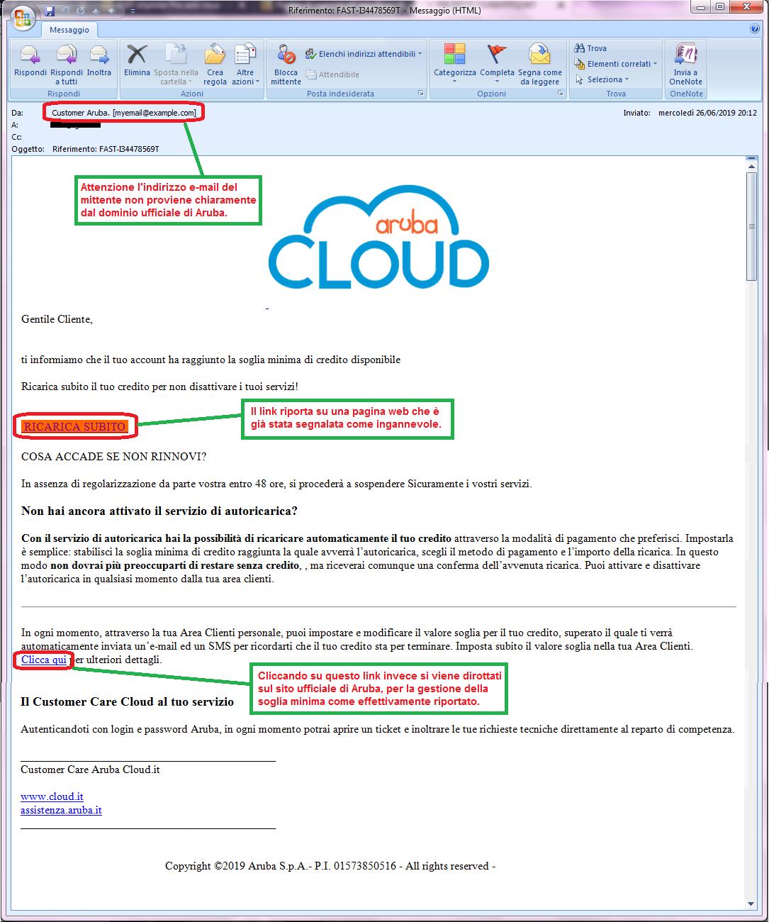 Clicca per ingrandire l'immagine della falsa e-mail di Aruba che comunica che l'account ha raggiunto la soglia minima di credito, ma che in realtà è una TRUFFA!