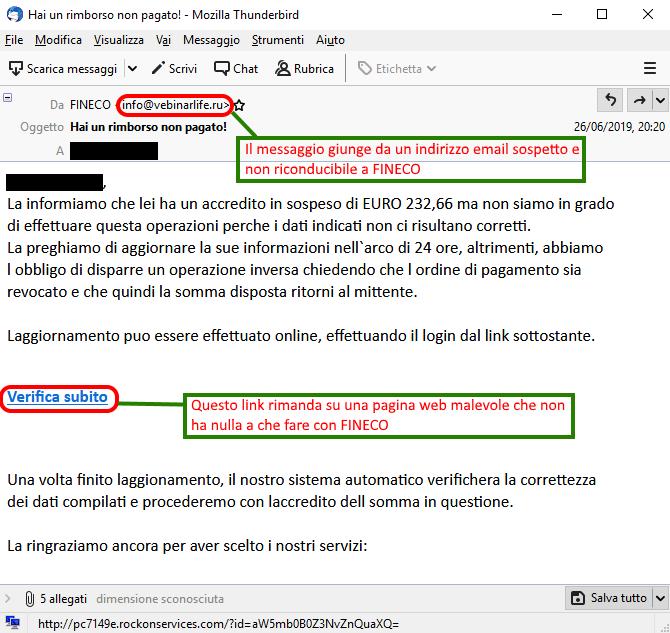 Clicca per ingrandire l'immagine della falsa e-mail di FINECO Banca, che cerca di rubare le credenziali di accesso alla Home Banking, ma in realtà è una TRUFFA!