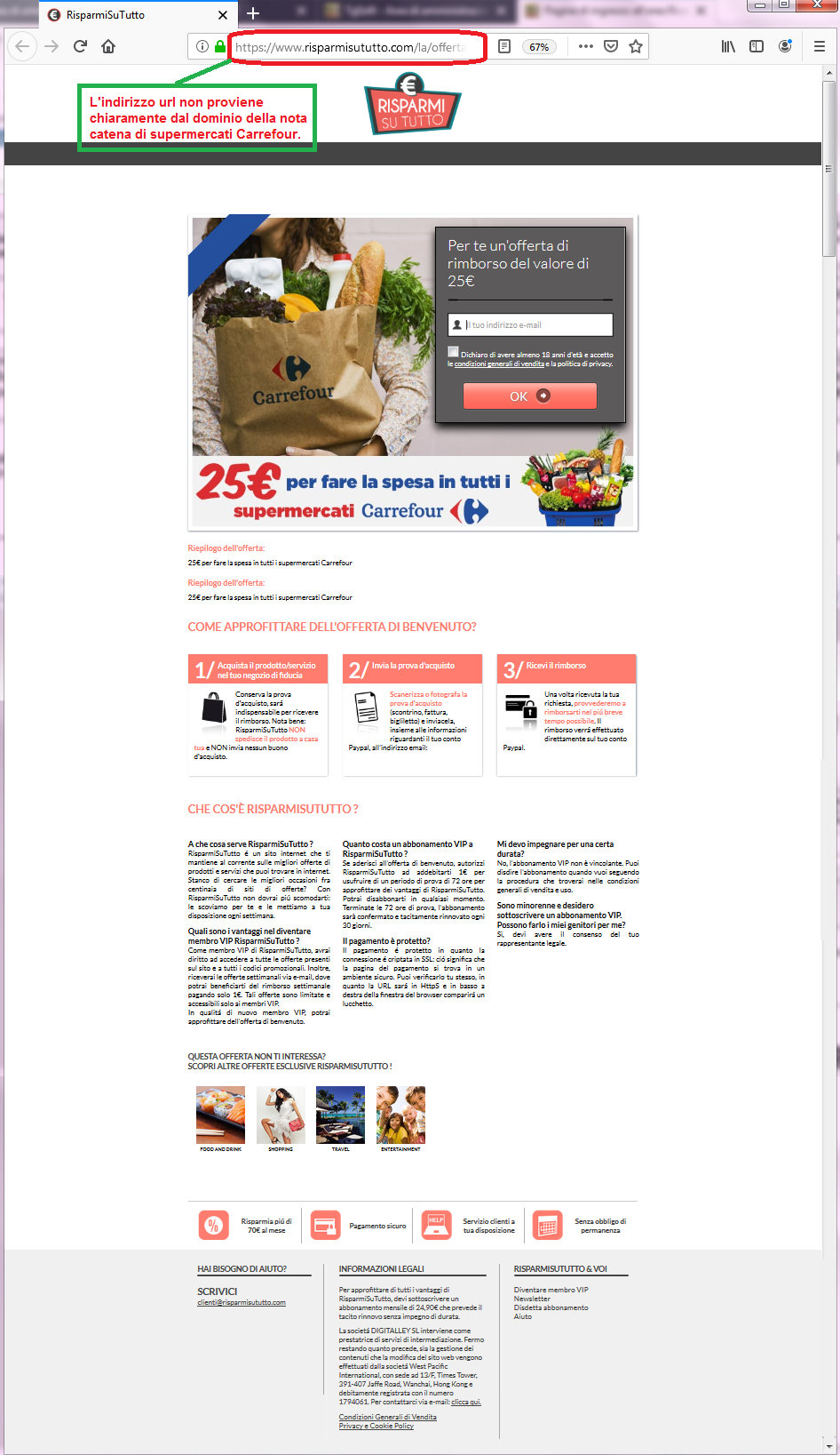 Clicca per ingrandire l'immagine del FALSO sito internet di Carrefour, che cerca di rubare dati sensibili dell'utente......