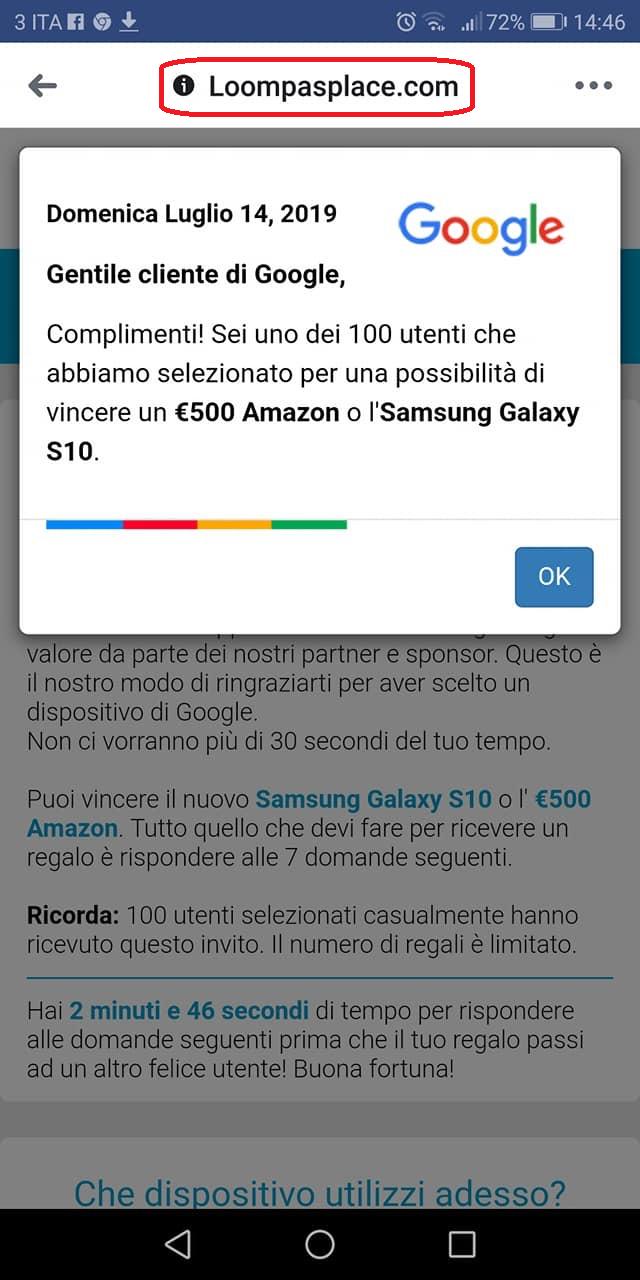 Clicca per ingrandire l'immagine del FALSO sito internet, che informa il ricevente che è stato selezionato per vincere € 500 Amazon o un Samsung Galaxy S10, ma che in realtà è una TRUFFA!!