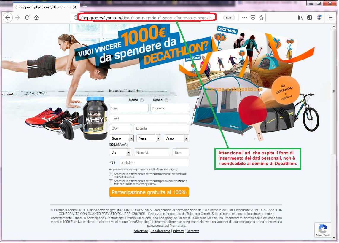 Clicca per ingrandire l'immagine del falso FORM di autenticazione di DECATHLON che invita l'utente ad inserire i suoi dati per poter partecipare all'estrazione del voucher del valore di 1000 Euro ma che in realtà è una TRUFFA!
