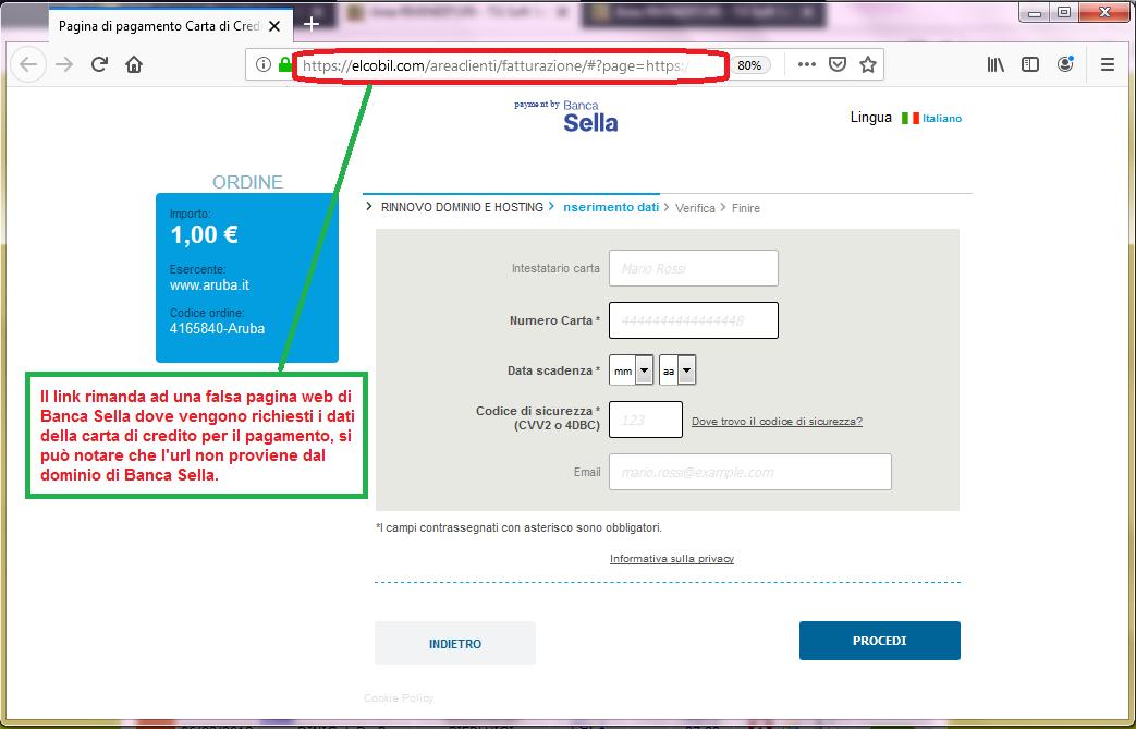 Clicca per ingrandire l'immagine del FALSO sito internet di Banca Sella a cui si viene rimandati, che cerca di rubare le credenziali della carta di credito...