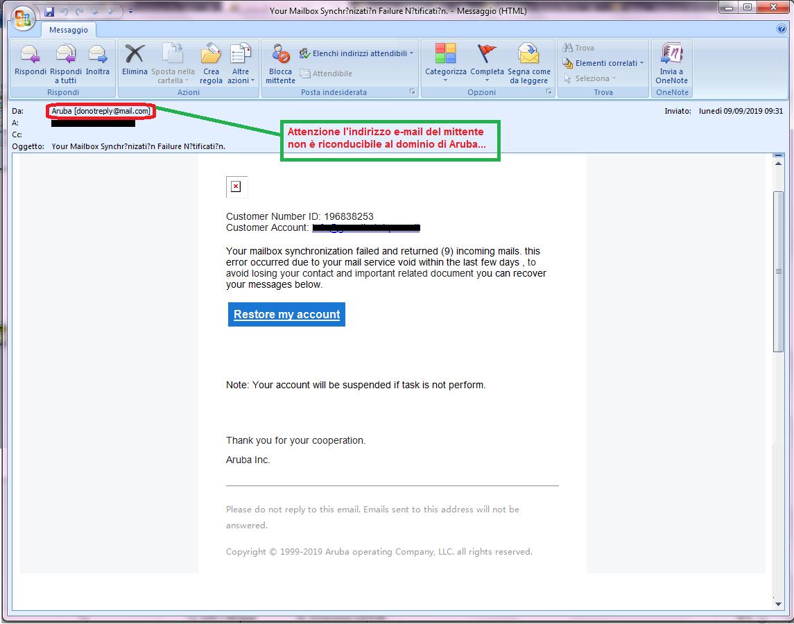 Clicca per ingrandire l'immagine della falsa e-mail di Aruba che invita l'utente a confermare la propria identità ma che in realtà è una TRUFFA!
