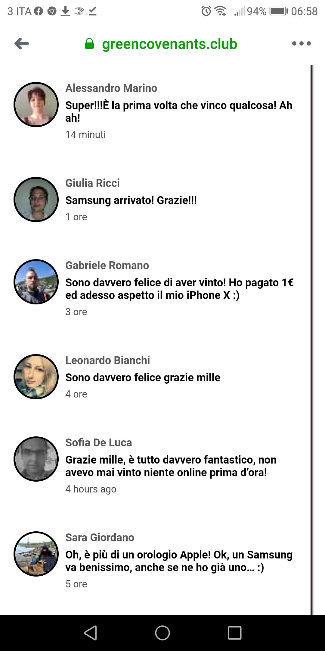 Clicca per ingrandire l'immagine dei FLASI commenti rassicuranti degli utenti che avrebbero ottenuto in premio lo smartphone dopo aver completato il sondaggio!