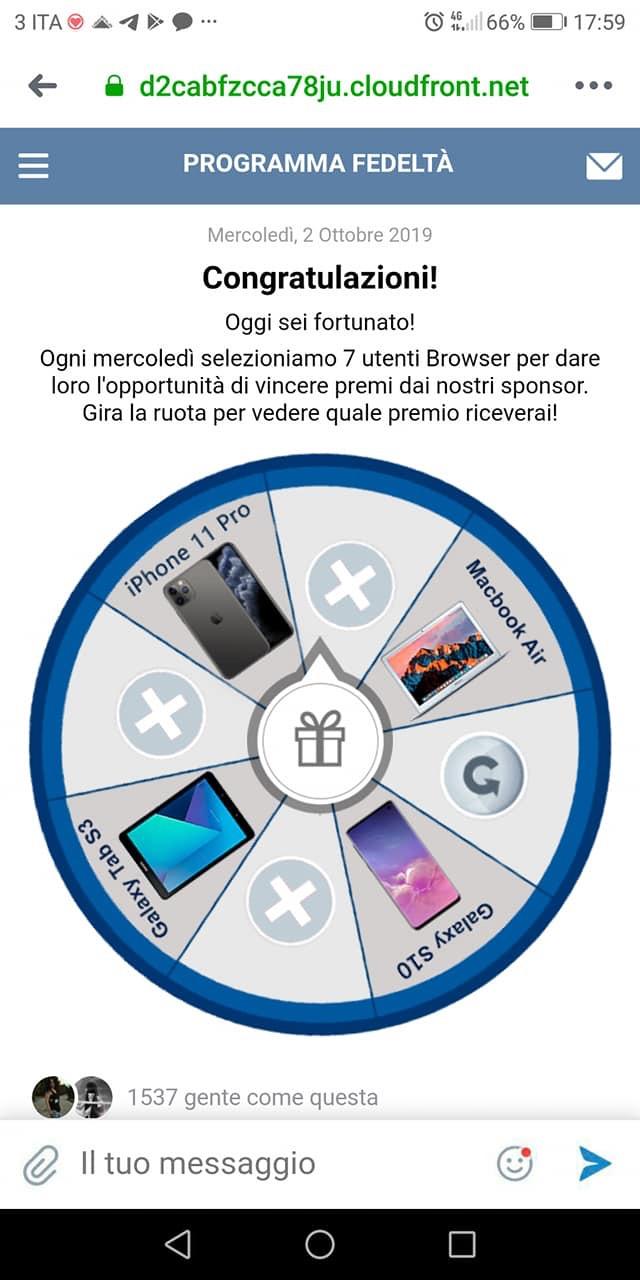 Clicca per ingrandire l'immagine del FALSO Programma Fedeltà che sembrerebbe dar la possibilità di vincere uno smartphone ma che si tratta di una TRUFFA!