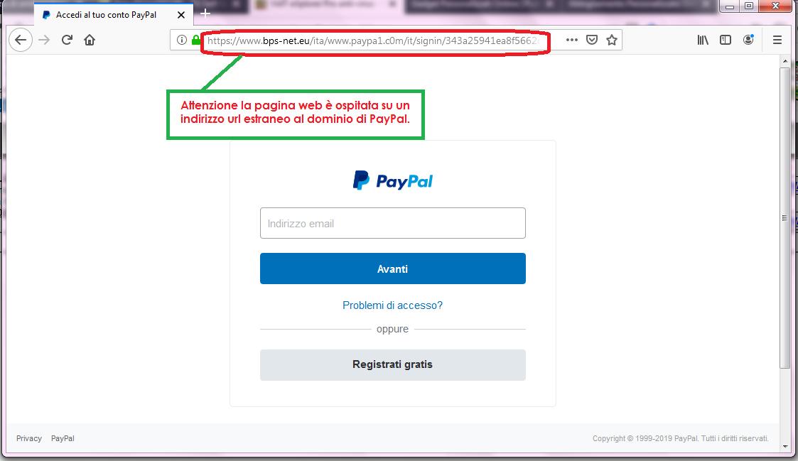 Clicca per ingrandire l'immagine del FALSO sito internet di PayPal a cui si viene rimandati, che cerca di rubare le credenziali di accesso all'account...