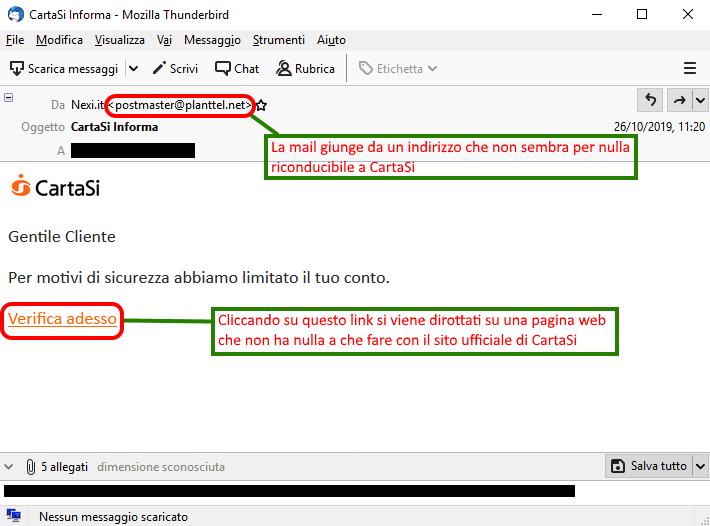 Clicca per ingrandire l'immagine della falsa e-mail di CartaSi che cerca di indurre il ricevente a cliccare sui link per rubare le credenziali di accesso alla carta di credito