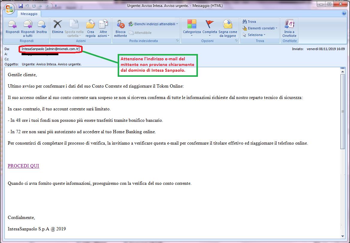 Clicca per ingrandire l'immagine della falsa e-mail di INTESA SANPAOLO, che cerca di indurre il ricevente a cliccare sui link per rubare le credenziali di accesso al suo account.