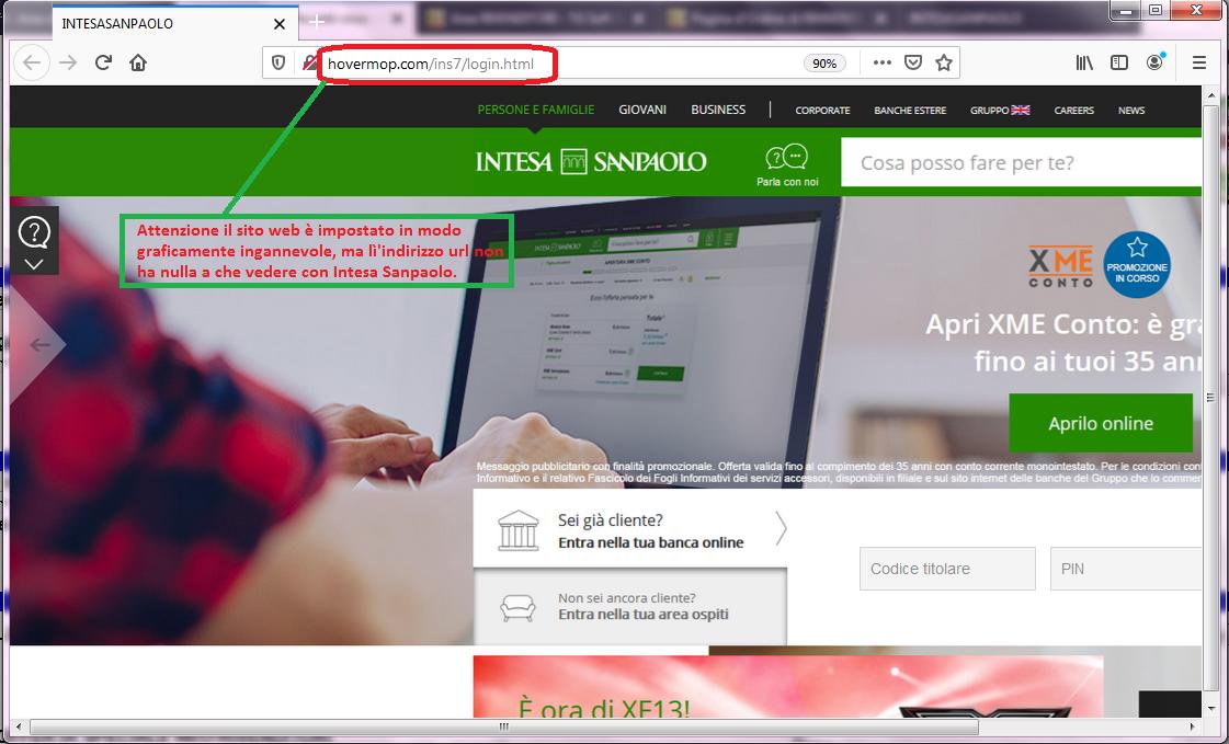 Clicca per ingrandire l'immagine del FALSO sito internet di Intesa San Paolo, che cerca di indurre il ricevente a inserire le credenziali del suo conto corrente online