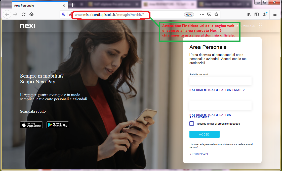 Clicca per ingrandire l'immagine della falso sito di NEXI che cerca di rubare la password dell'account della carta online.
