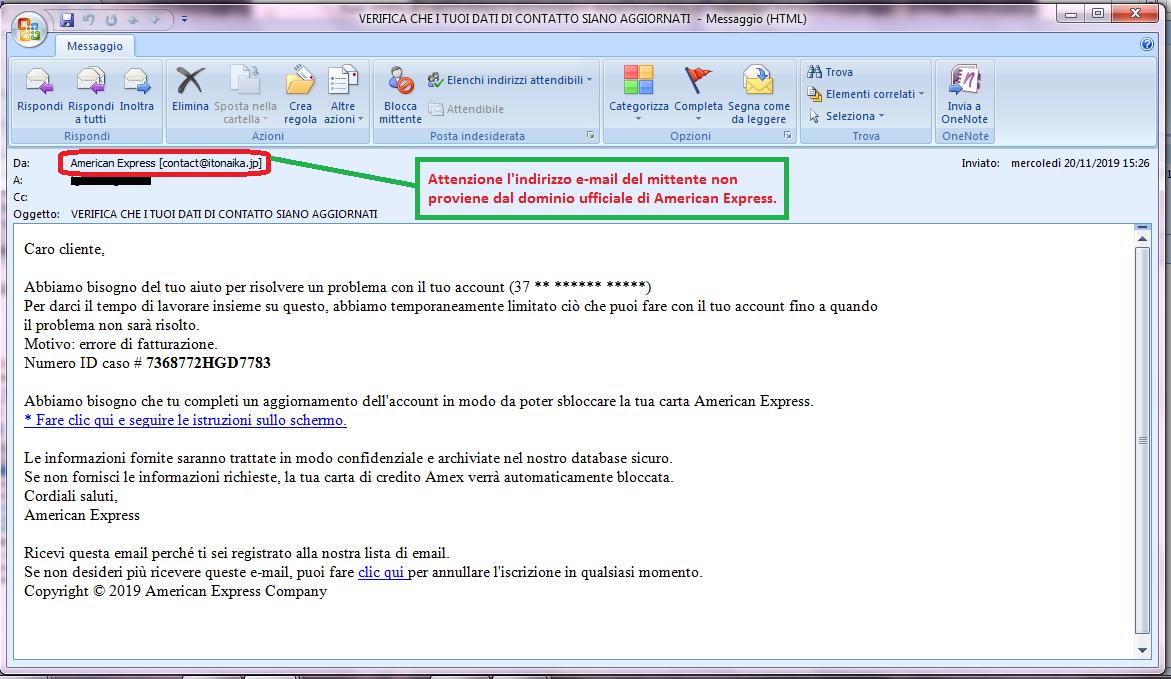 Clicca per ingrandire l'immagine della falsa e-mail di American Express, che cerca di rubare le credenziali di accesso alla carta di credito, ma che in realtà è una TRUFFA!
