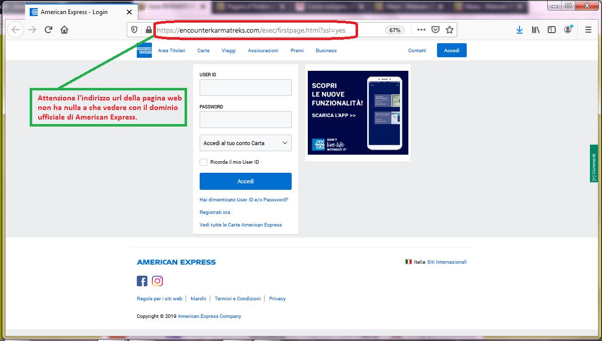 Clicca per ingrandire l'immagine del FALSO sito internet di American Express a cui si viene rimandati, che cerca di rubare le credenziali di accesso all'account...