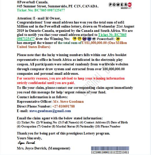 Clicca per ingrandire l'immagine del messaggio allegato alla mail della Lotteria Canadese, che comunica il fortunato vincitore, ma che in realtà è una TRUFFA!