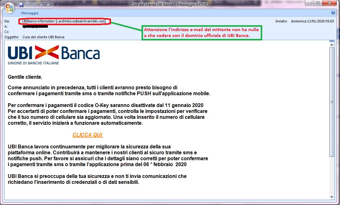 Clicca per ingrandire l'immagine della falsa e-mail di UBI Banca che cerca di indurre il ricevente a cliccare sui link per rubare le credenziali di accesso alla carta di credito