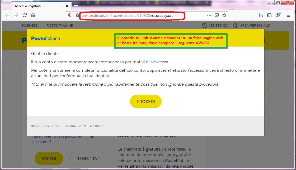 Clicca per ingrandire l'immagine dell'avviso che compare sulla falsa pagina web di POSTE ITALIANE...