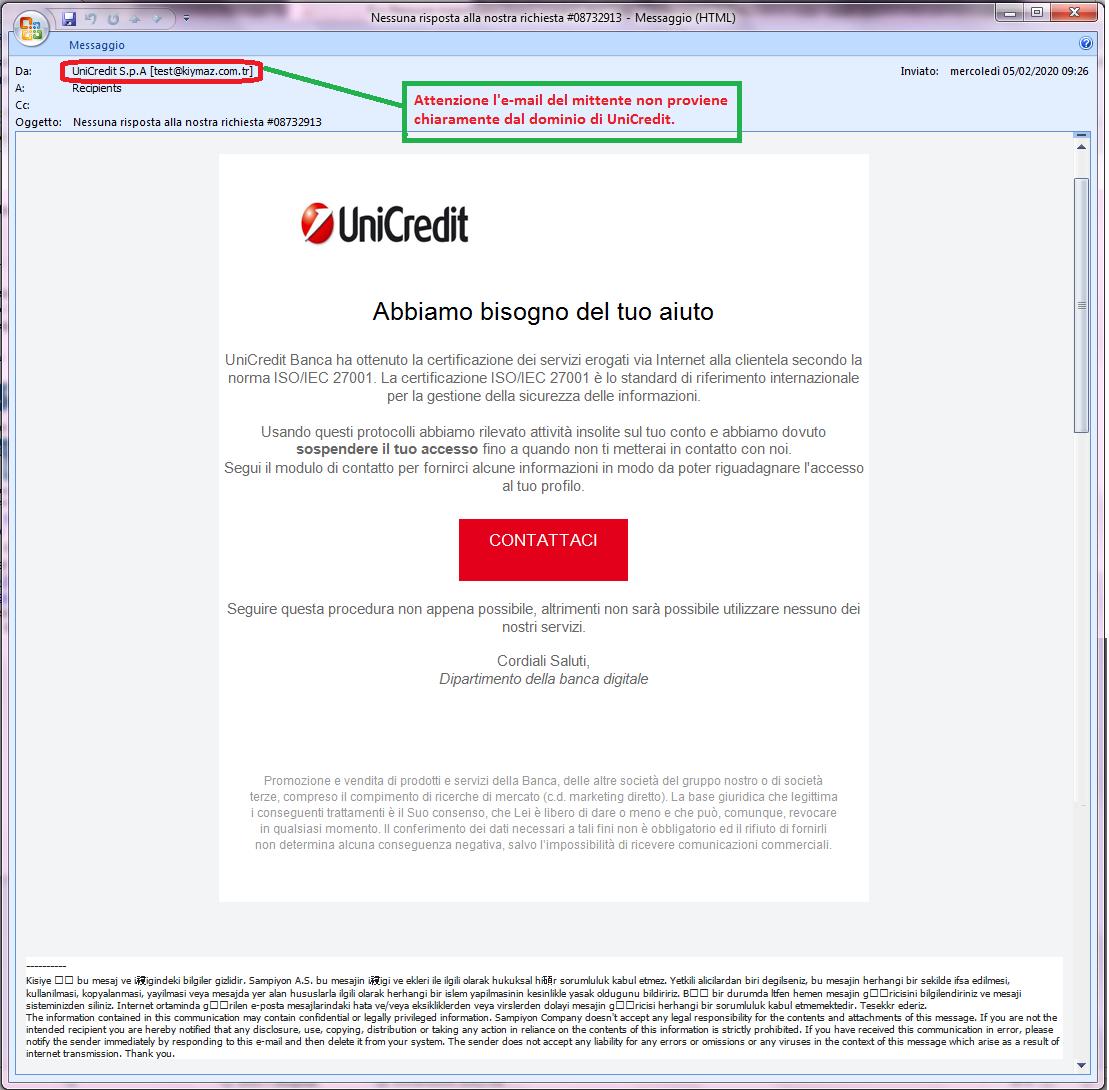 Clicca per ingrandire l'immagine della falsa e-mail di UNICREDIT, che cerca di indurre il ricevente a cliccare sui link per rubare le credenziali di accesso al suo account.