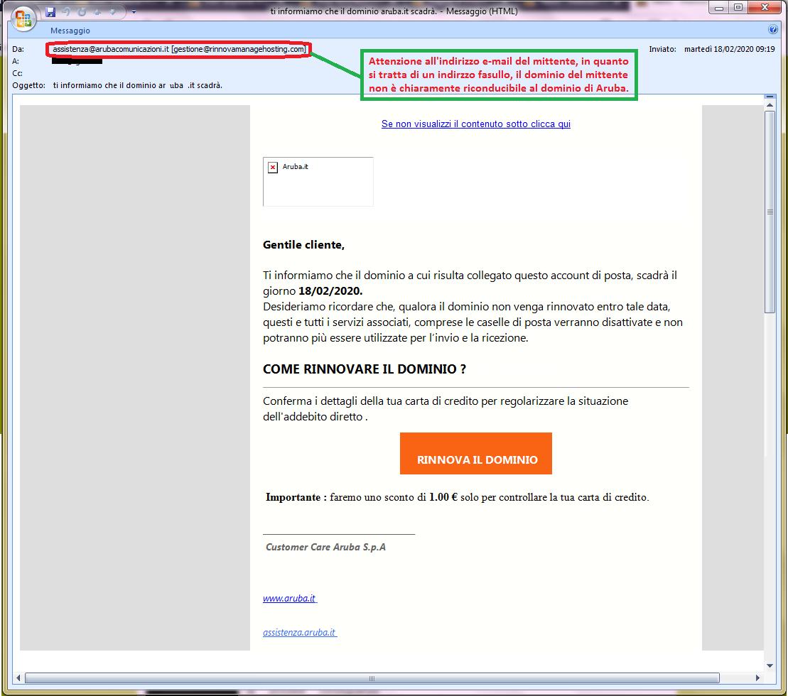 Clicca per ingrandire l'immagine della falsa e-mail di Aruba che comunica che il dominio è in scadenza e deve essere rinnovato ma in realtà è una TRUFFA!