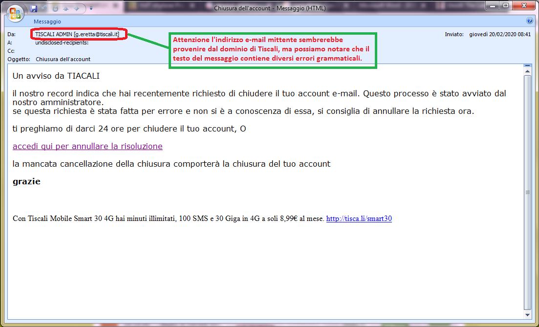 Clicca per ingrandire l'immagine della falsa e-mail di TISCALI, che cerca di indurre il ricevente a cliccare sui link per rubare le credenziali di accesso all'account di posta elettronica.