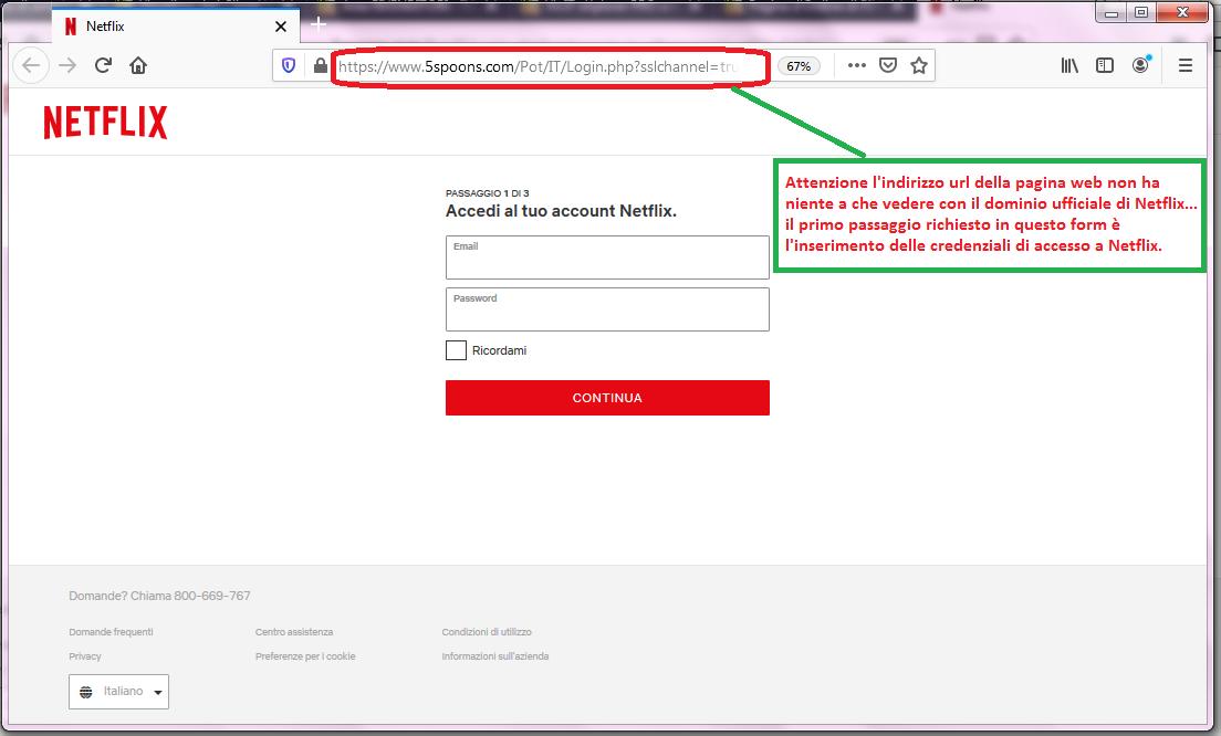 Clicca per ingrandire l'immagine del FALSO sito internet di NETFLIX, che cerca di indurre il ricevente a inserire le credenziali del suo account, ma che in realtà è una TRUFFA!