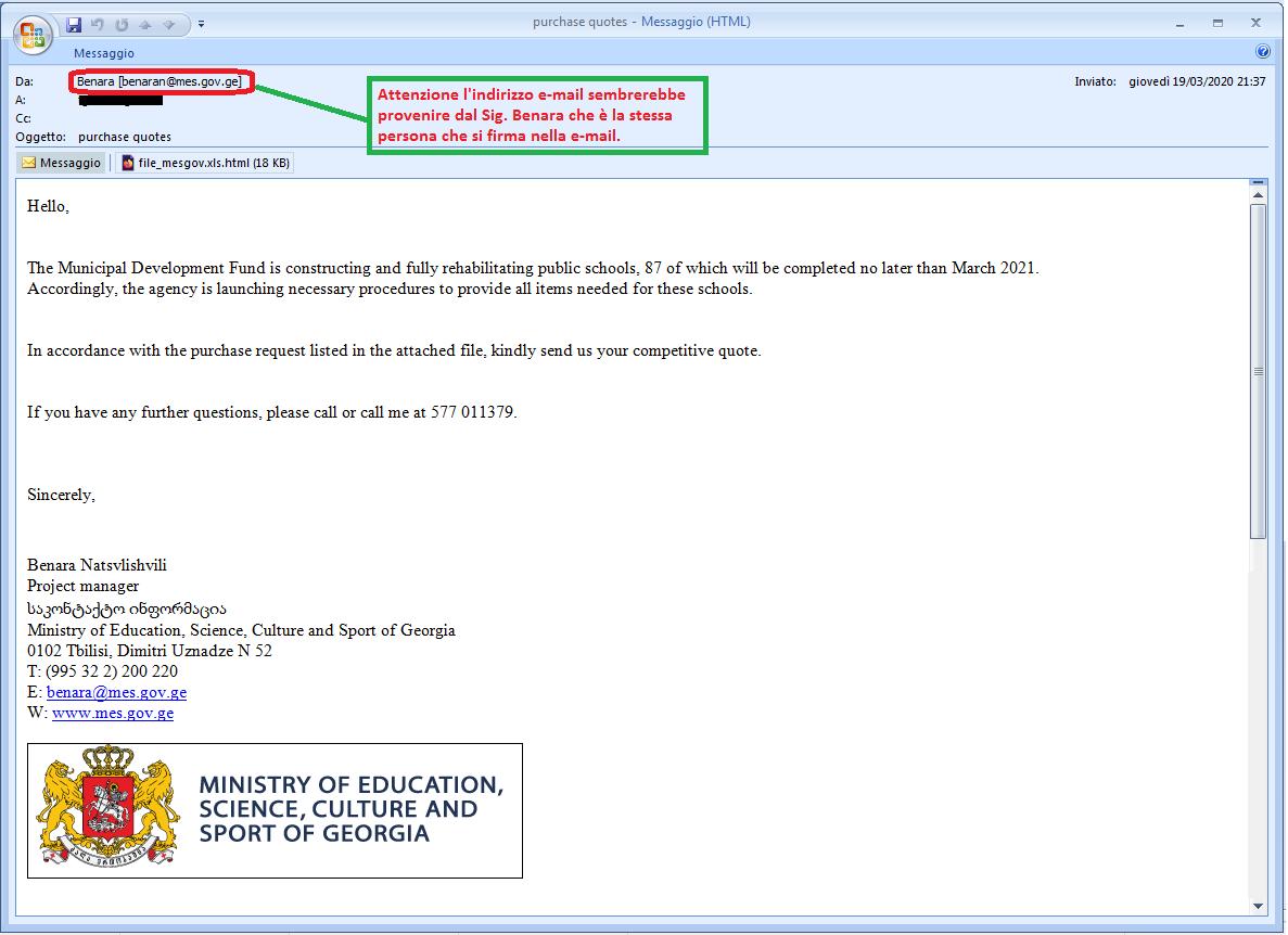 Clicca per ingrandire l'immagine della falsa e-mail del Ministero della ESCS della Georgia, che cerca di rubarela password della casella di posta elettronica...