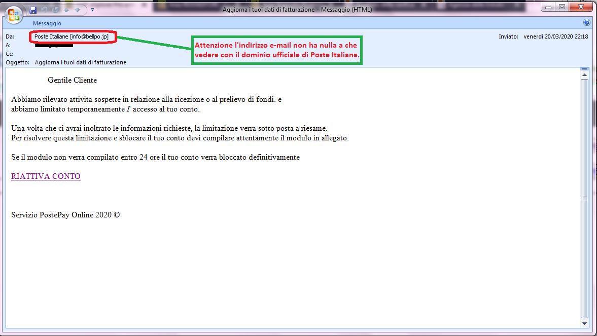 Clicca per ingrandire l'immagine della falsa e-mail di Poste Italiane che comunica una limitazione di accesso al conto corrente con l'intento di rubare le credenziali di accesso all'ignaro ricevente!!