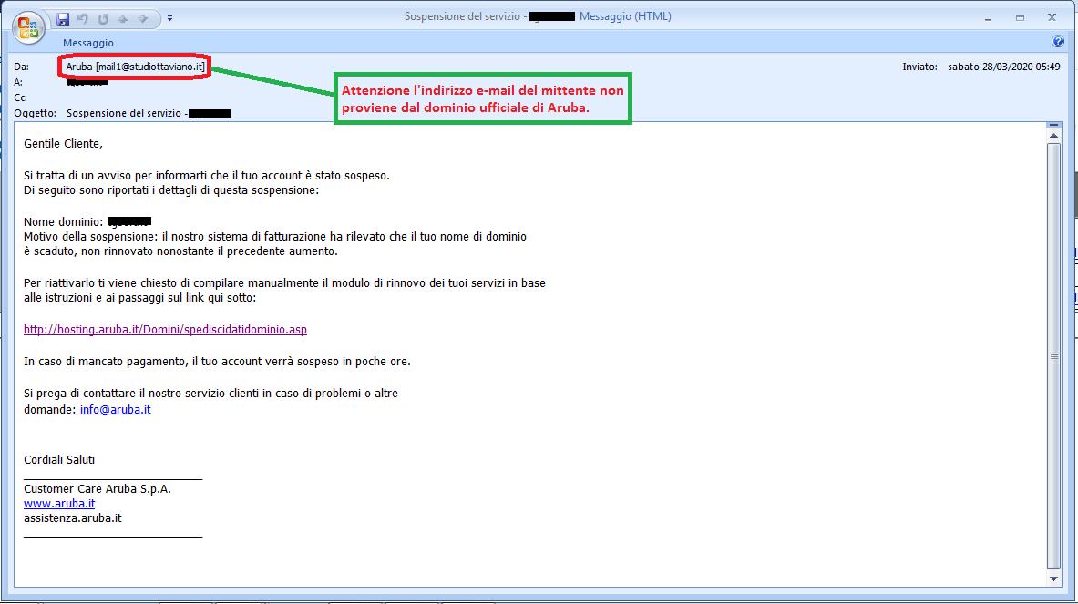 Clicca per ingrandire l'immagine della falsa e-mail di Aruba che comunica che il dominio è scaduto e deve essere rinnovato ma in realtà è una TRUFFA!